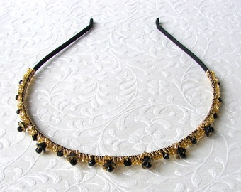 abe15c229 SAMPLE SALE Thin Black and Gold Headband Beaded Diadem Glass Flowers  Swarovski® Jet Crystal Wedding Hairpiece Bridesmaid Prom Pageant Prom