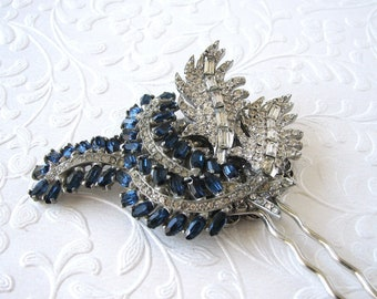 Royal Blue Jeweled Hairpiece Unique Vintage Jewelry Rhinestone Hair Comb Something Old  Floral Spray Leaf Leaves Wedding Formal Gatsby Bride
