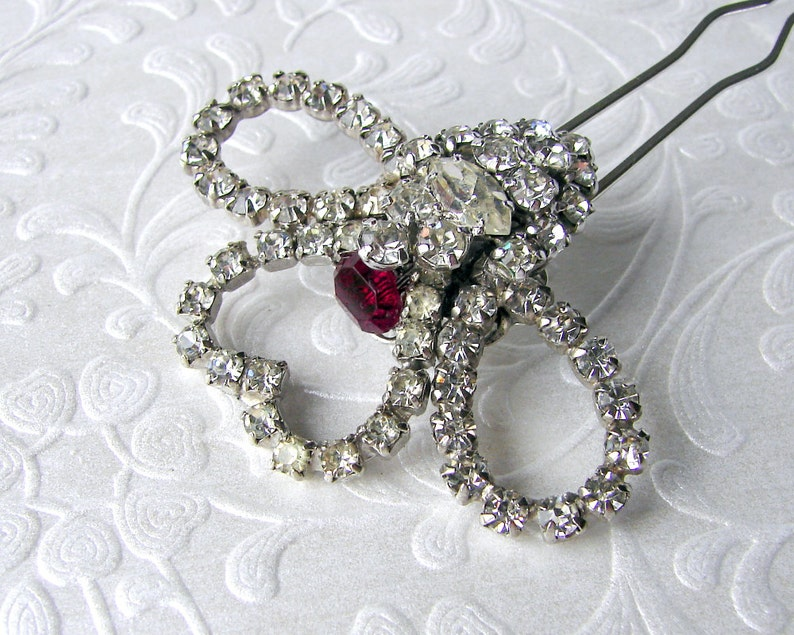 Christmas Valentines Bride Heart Wedding Hair Comb Rhinestone image 0