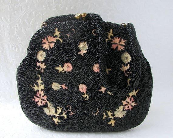 Vintage WALBORG Black Beaded Purse Floral Tambour