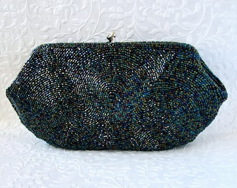 Darling Little 1950's Vintage Blue Carnival Glass Beaded Clutch Evening Bag Formal Peacock Bead Handbag Small Size Purse Made In Japan