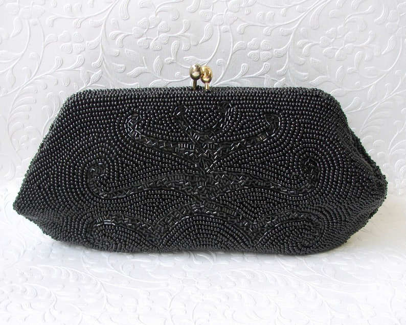 Sweet Small Vintage Black Beaded Clutch Cocktail Evening Bag image 0