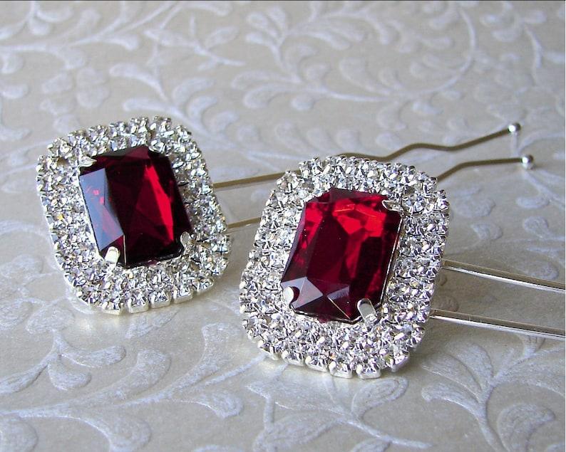 1 Piece Rhinestone Hairpin Valentines Christmas Ruby Red Hair image 0