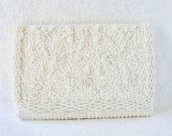 Vintage Beaded Sequin Envelope Clutch Silk White Pale Ivory Wedding Purse Scalloped Edge Formal Evening Bag Bridal Handbag Flower Rectangle