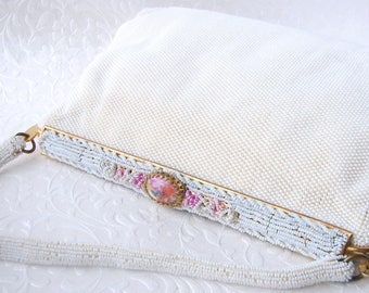 Vintage French Beaded Wedding Purse Ornate Frame Pink Beads Cameo Couple Bridal Clutch Formal Evening Handbag Bead Strap Hand Made France