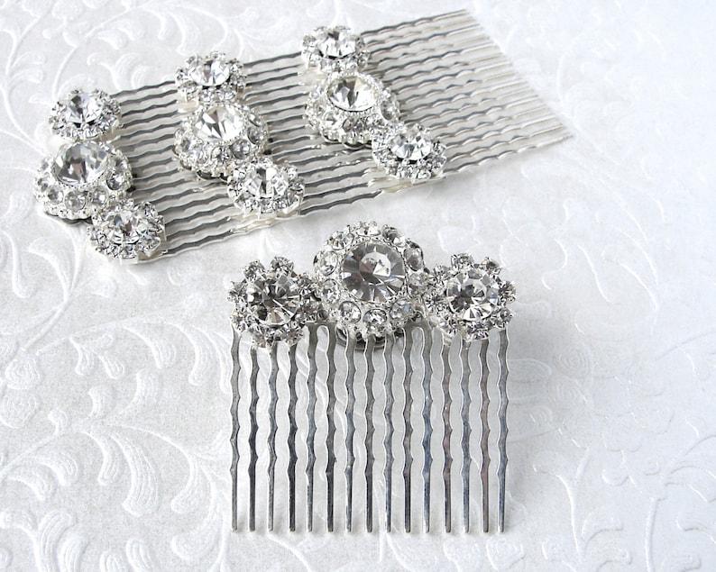 Rhinestone Flower Hairpiece Jeweled Hair Comb Silver Wedding image 0