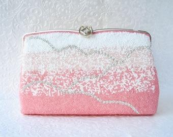 Fabulous Vintage Beaded Purse Salmon Pink Blush Clutch White Glass Seed Beads & Rhinestone Handbag Silver Frame Strap Formal Evening Bag