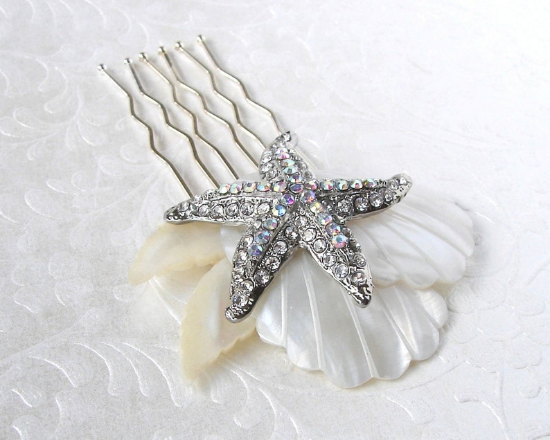 Rhinestone Starfish Wedding Hair Comb Mother Of Pearl Bridal image 0
