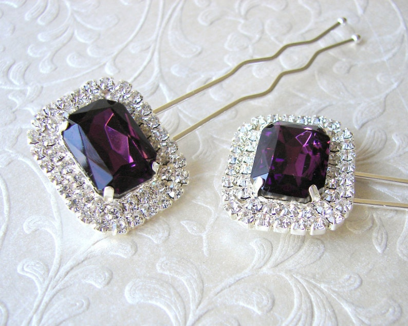 1 Piece Amethyst Rhinestone Hairpin Purple Hair Comb image 0