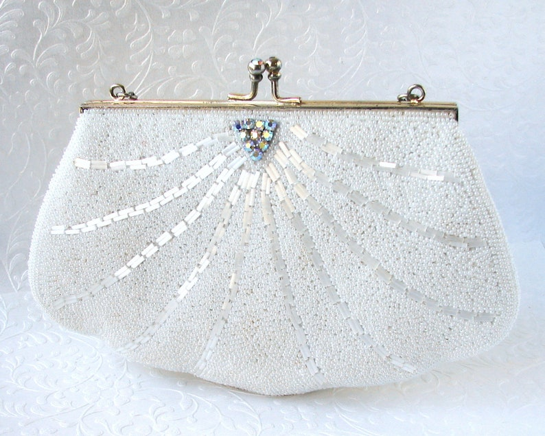 Vintage White Beaded Rhinestone Purse Frosted Glass Bugle image 0
