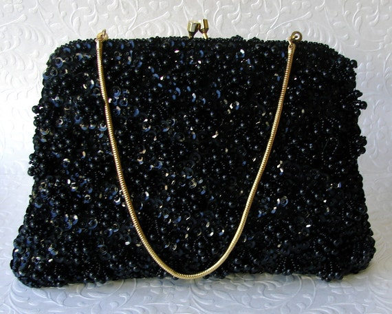 10b34f29449 Black Beaded Evening Bag by Encore Formal Bead Sequin Clutch | Etsy