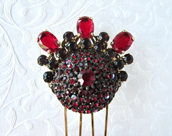 Red Rhinestone Vintage Costume Jewelry Hair Comb Jeweled Bridal Hairpiece Headpiece Formal Evening Cocktail Christmas Valentines Wedding