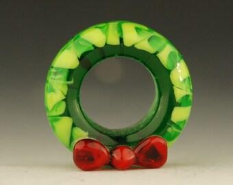 Christmas Wreath - Handmade Large Hole Lampwork Glass Bead - Large Hole Bead
