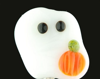 Spooky Handmade Lampwork Ghost Bead by Lara - Small Halloween Glass Bead