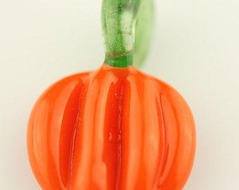 Pumpkin Glass Pendant by Lara Lutrick flamework pendant lampwork pendant jewelry supplies glass bead halloween
