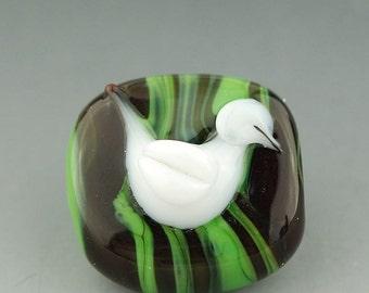 Christmas Dove Handmade Lampwork Glass Bead by Lara Lutrick