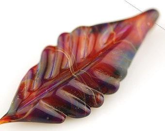 Deep Pink and Purple Boro Glass Feather Pendant by Lara - Flamework Pendant - Lampwork Pendant - Jewelry Supplies