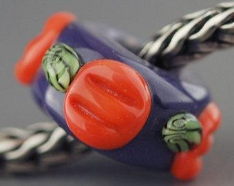 Halloween Handmade Lampwork Glass Bead - European Charm Bead - Raised Pumpkins on Purple Bead