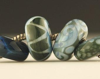 Handmade Lampwork Bead European Charm Bead Set - Olive and Blue -