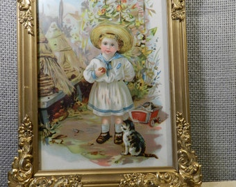 Victorian girl with cats picture
