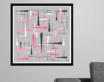 Triunity Square Modern Triangle Art Print 4 Color Options + Custom Sizes!