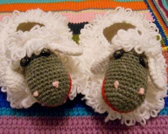 Baa Baa Slippers-Crochet Pattern