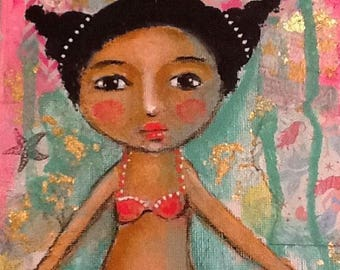 Mermaid painting, folk art, African american girl, Mixed media, whimsical art,  Children's art, home decor, mermaid