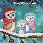 RESERVED Owl Family WInter  Mixed Media Painting , Original painting,