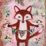 RESERVED-  Christmas painting, fox painting, Original art, mixed media,  woodland animal, holiday art