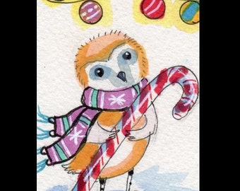 ACEO Owl Christmas Candy cane 7 Card Draw