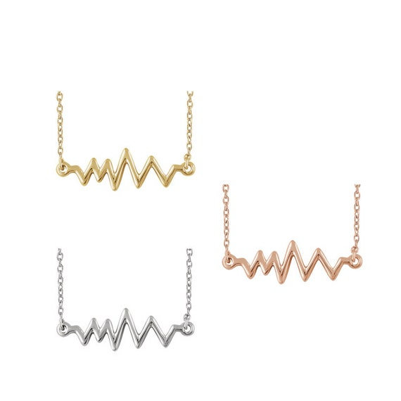 5th Year Anniversary Gift 14k Gold Heartbeat Necklace Modern Jewelry For Her Wife Christmas Gift