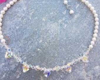 Swarovski Crystal ~ Freshwater Pearl ~ Bridal ~ Bridesmaid Necklace ~ KAW