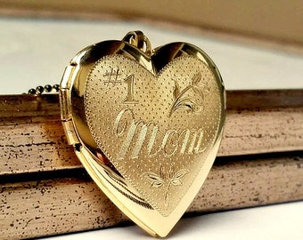 Engraved #1 Mom Locket Necklace • Mother's Day Gift • Personalized Gift For Mom • Custom Photo Locket • Free Photo Placement • Gift For Mom
