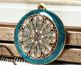 Blue Locket Necklace • Upcycled Vintage Locket • Women's Jewelry • Gift For Her • Birthday Gift • Personalized Gift • Photo Locket