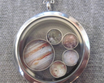 Floating Locket with Jupiter and Galiean Moon charms, Stainless Steel