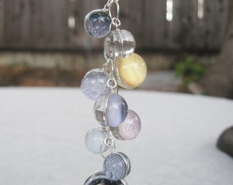 Saturn and Moons Double Sided Sterling Silver Necklace, Hand-Made