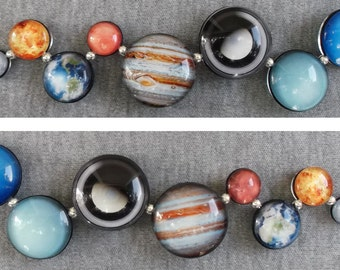 Wiggly Planets Double Sided Sterling Silver Bracelet, Hand-Made