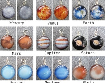 Double Sided Planet Charm/Pendant, with optional Sterling Silver Necklace