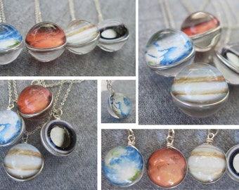 Double Sided Spherical Planet or Moon Charm/Pendant, with optional Sterling Silver Necklace