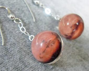 Spherical Dangling Planet, Sun or Moon Earrings, Double Sided Sterling Silver