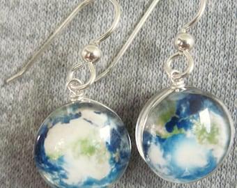 Double Sided Planet, Sun or Moon Earrings, Sterling Silver