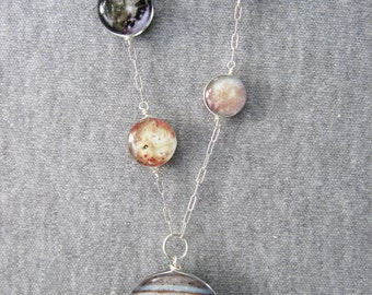 Double Sided Jupiter and Galilean Moons Necklace, Hand Made Sterling Silver.