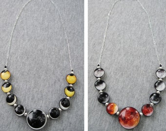 Double Sided Solar and Lunar Eclipse Necklace. Sterling silver, Hand Made