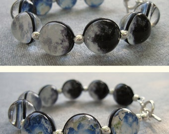 Earth and Moon Phases Double Sided Bracelet,  Sterling Silver