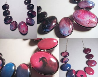 Orion and Horsehead/Flame Nebula Double sided Necklace. Hand Made, Sterling Silver