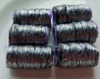 Set of 6 fabric beads. Gunmetal fiber beads? Just look at that surface shine! Fiber Beads, Men's dread hair tube, junk journal supply