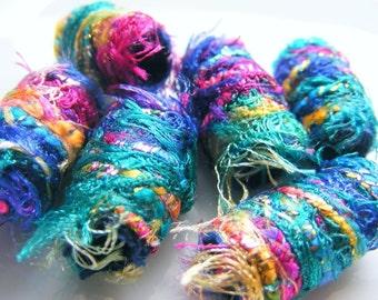 Set of 6 Fabric Bead, Fiber bead, big hole bead, bhb, large hole bead, macrame bead, dreads, jewelry component, scarf slide