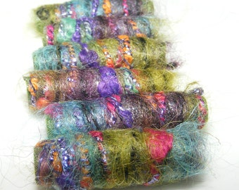 Set of 6. My God, I think we made the A-Team. We just love being Fiber Beads! Textile beads, wide hole macrame, big hole dread