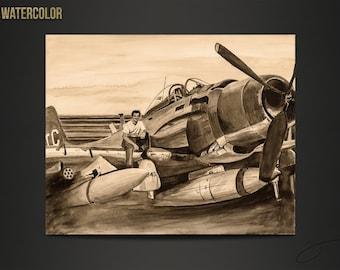 War Plane in sepia watercolor by Scott Loethen