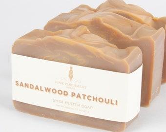 Sandalwood Patchouli Soap - Homemade Soap - All Natural Soap Bar - Cold Process Soap - Shea Butter Soap - Vegan Soap - Stocking Stuffer